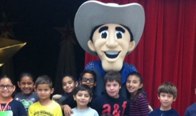 Lone Star National Bank's Cowboy Cash visits Jensen Elementary School in McAllen