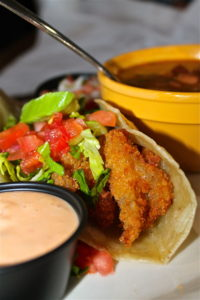 The Vermillion uses the freshest ingredients available for their shrimp tacos and charro beans.