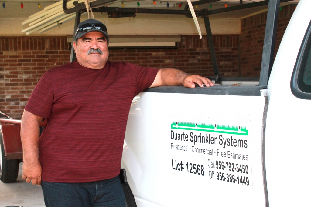 Alfonso Duarte has run his own sprinkler business – now called Duarte and Daughters – for 15 years. (VBR)
