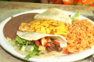 The Mexican plate, a classic dish with beans, rice, tacos and enchiladas. (VBR)