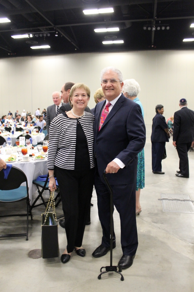 Mike Blum and wife Pat celebrate at the luncheon to honor his service to the community.