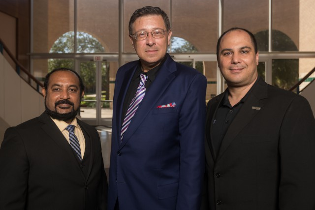 Leading the MIH project are Immanuel Edinbarough, associate dean for External Affairs and Innovation; Alexander Domijan, dean of the College of Engineering and Computer Science; and Constantine Tarawneh, director of the University of Transportation Center for Railway Safety and associate dean for Research. (UTRGV Photo by David Pike)
