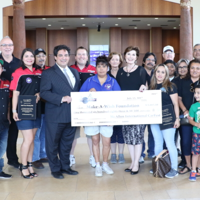 The Make-A-Wish Foundation was one of three non-profits receiving a total of $8,800 from McAllen International CarFest 2017 proceeds.