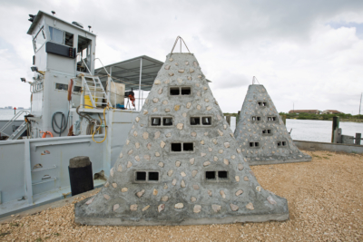 "Structures made from limestone, oyster shells and concrete are being used to build the ""low profile"" artificial reef. (UTRGV photo by Veronica Gaona)"
