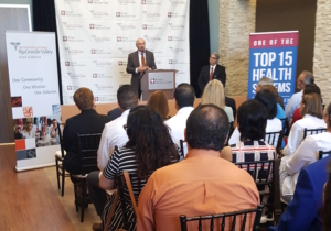 Dr. Guy Bailey, founding president of the University of Texas Rio Grande Valley, speaks at the Knapp/UTRGV Family Practice Residency Clinic ribbon cutting. (photo VBR)