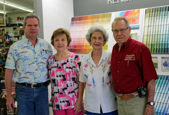 The Eiler family, Ken, Debbie, Loretta and Bob, stand in front of the store's new paint department.