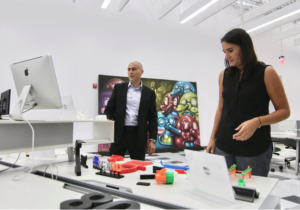 Jose Laguna and Ximena Alvarez from Foldio present their 3D printed products at a recent open house.