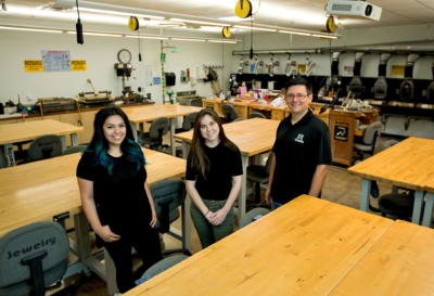 UTRGV students Vilma Flores and Alissa Flores with Dr. Emmett Tomai, associate professor of Computer Science, are working on the start-up of the UTRGV Fabrication Lab. (Photo by Paul Chouy, UTRGV)