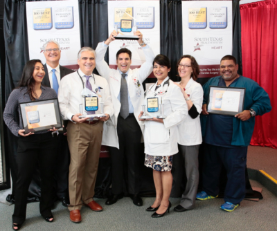 Doctors and employees with McAllen Heart Hospital celebrate its honors of Best Hospitals from Healthgrades on Aug. 4. (photo by South Texas Health System)