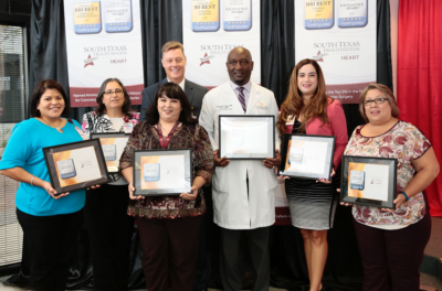 Representatives from McAllen Medical Center and Edinburg Regional Medical Center celebrate their five-star ratings in three women's service areas from Healthgrades during a recent press conference. (photo STHS)