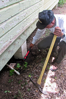 A Safeguard Pest Control technician clears a trench around a house pier where he will place a non-repellent termite chemical to control the wood destroying insects. (VBR)