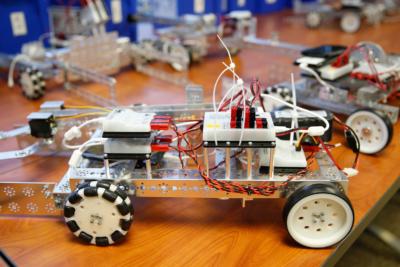 Robots built for the Smart Farm competition. (photo Paul Chouy, UTRGV)