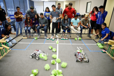 Teams of students in the Smart Farm robotics competition. (photo Paul Chouy, UTRGV)