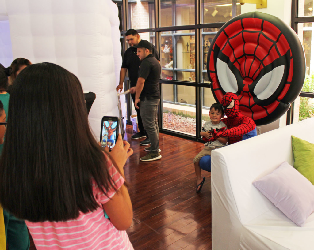 Youngsters had the chance for photo opps with superheroes like Spiderman.