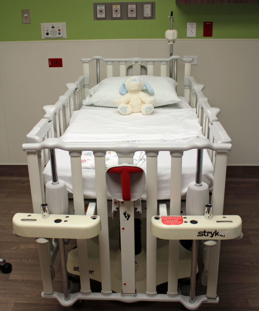 One of 12 beds dedicated to the Pediatric Emergency Room.