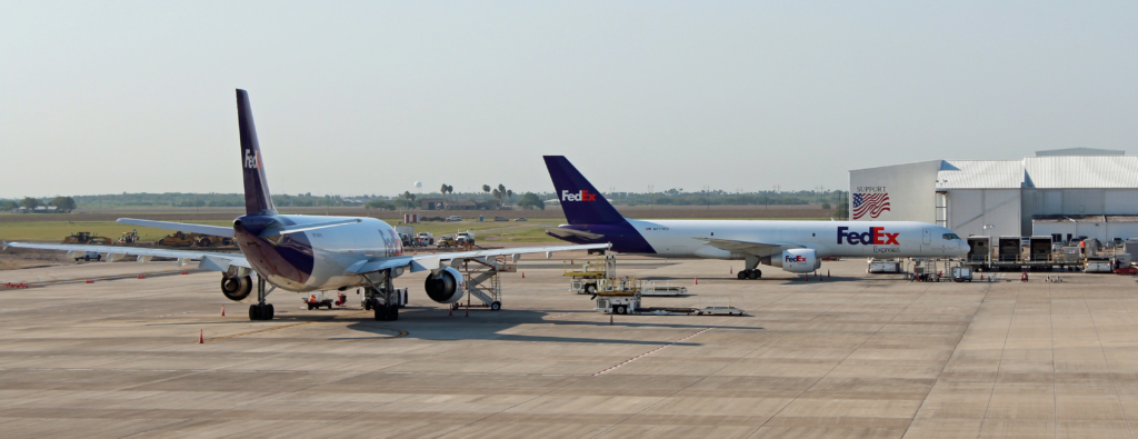 Two FedEx jets parked at Valley International Airport. The cargo company is considering a service expansion.