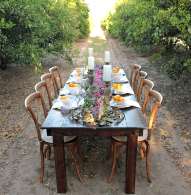 Dinner can be served among the citrus trees at The Grove. (Courtesy)