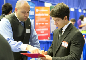 UTRGV mechanical engineering major Andres Garcia at last year's Fall Career Expo. (photo by David Pike, UTRGV)
