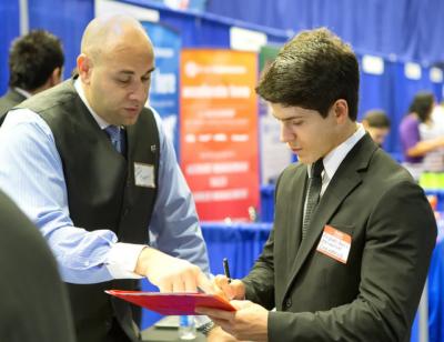 UTRGV mechanical engineering major Andres Garcia at last year's Fall Career Expo. (photo by David Pike, UTRGV)