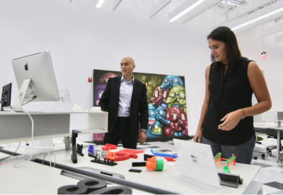 Jose Laguna and Ximena Alvarez from Foldio present their 3D printed products at an open house at the CEED Building. Foldio is working with Mission EDC to offer 3D printing courses to the public. (photo Mission EDC)