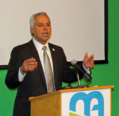 Harlingen School Superintendent Art Cavazos speaks during the dedication of the district's new Media Arts and Communications Academy. (VBR)