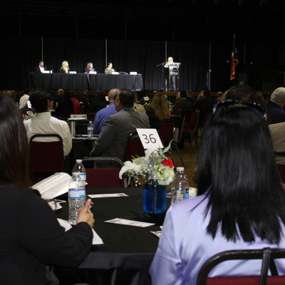 Angela Burton, U.S. Small Business Administration, Lower RGV, moderated a Q&A panel of financial executives