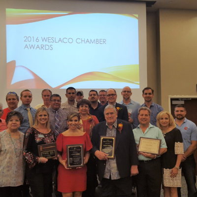2016 honorees at the Weslaco Chamber Annual Luncheon. Nominations for the chamber's major awards are being accepted through Oct. 20 for the 2017 luncheon on Nov. 1.