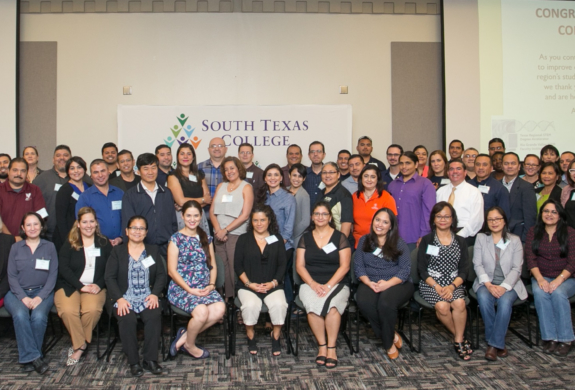 South Texas College's third cohort of faculty members from area school districts celebrate completing intensive professional development training via STC's RGV STEM Faculty Institute. (photo STC)