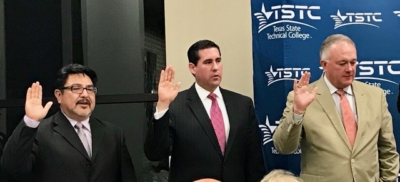 Mission EDC CEO Alex Meade, center, is sworn in to the Texas State Technical College System Board of Regents. (photo Mission EDC)