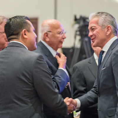 Javier Palomarez greets Valley civic and business leaders. (UTRGV Photo by David Pike)