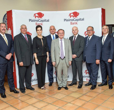 PlansCapital Bank officials with Dr. Ray Perryman, center, during an invitation-only event to discuss the Valley economy. (Courtesy)