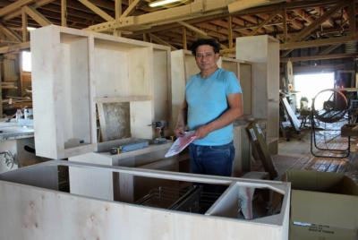 Primo de la Garza in his shop with a custom order in progress. (VBR)