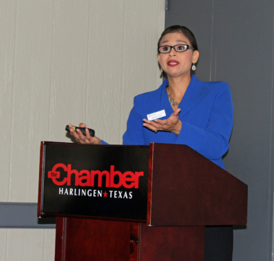 Frost Bank Vice President Sylvia talks to business leaders about digital theft and fraud. (VBR)