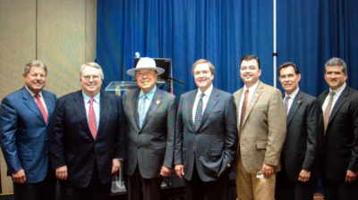 Local officials and business leaders from Hidalgo, Cameron, Starr and Willacy Counties meet with Texas Transportation Commission Chairman J. Bruce Bugg Jr. (photo RGV Partnership)