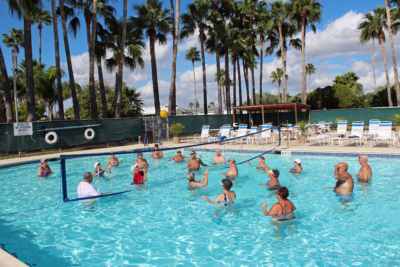 Winter Texans enjoy the South Texas sun as they play volleyball in the swimming pool at Fun 'N' Sun RV park in San Benito. (VBR)