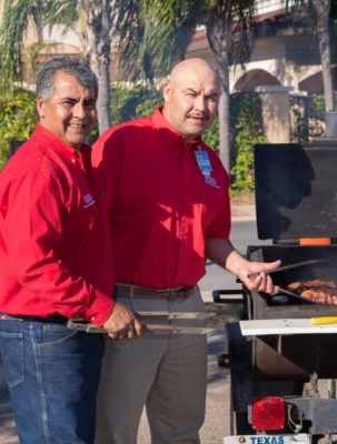 H-E-B market managers Alvaro Martinez and Isidro Maldonado of the H-E-B BBQ Cooking Team. (photo McAllen Chamber of Commerce)