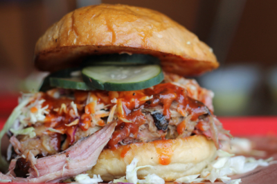 Brisket is piled high on a Rio Grande Grill sandwich. (Courtesy)