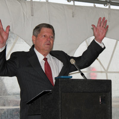 Texas Regional Bank President and CEO Paul Moxley gestures during his remarks at the groundbreaking ceremony for the bank's new corporate headquarters.