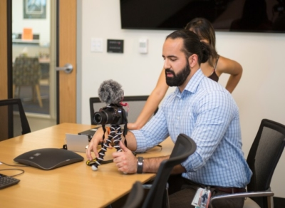 """Shawn Izadi, a second-year medical student at The UTRGV School of Medicine, has created a YouTube channel called """"Beards & Scrubs"""" in which he conducts interviews and offers up advice to other medical students. (Photo by Silver Salas, UTRGV)"""