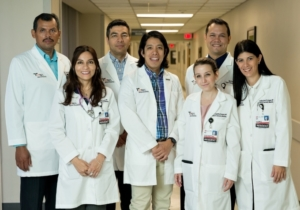 Dr. Miguel Tello, family medicine physician and associate program director for the Knapp/UTRGV Family Practice Residency Program, leads the new residency clinic. He is joined by Dr. Miguel A. Sanchez Rivas, Dr. Marita del Pilar Sanchez Sierra Marino, Dr. Diego Moreno, Dr. Eliana Costantino Burgazzi, Dr. Eddy Berges, and Dr. Carolina Gomez de Ziegler. (photo by Paul Chouy, UTRGV).