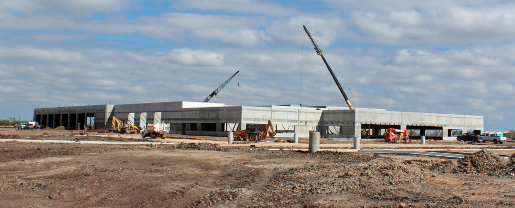 The 87,900-square-foot AEP Texas service center in San Benito is being built near the former municipal airport. (VBR)