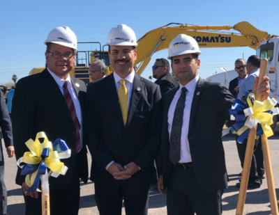 Pharr EDC President & CEO Victor Perez, Mayor Ambrosio Hernandez and City Manager Juan Guerra at the Topgolf groundbreaking. (photo City of Pharr)