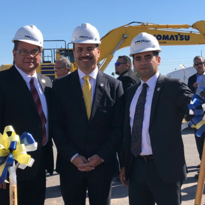 Pharr EDC President & CEO Victor Perez, Mayor Ambrosio Hernandez and City Manager Juan Guerra at the Topgolf groundbreaking. (photo City of Pharr)