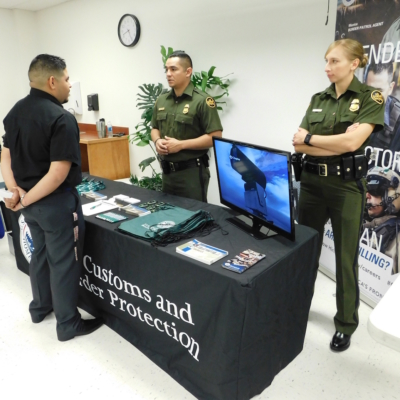 U.S. Customs and Border Protection professionals, such as the ones shown in this photograph, are among the representatives of more than two dozen employers scheduled to participate in the Jan. 25 job fair. (photo Edinburg EDC)