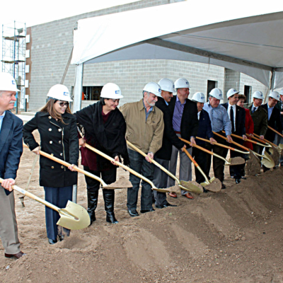 Lone Star National Bank officials and community leaders turn shovels of dirt at the groundbreaking ceremony for the bank's second Edinburg location. (VBR)