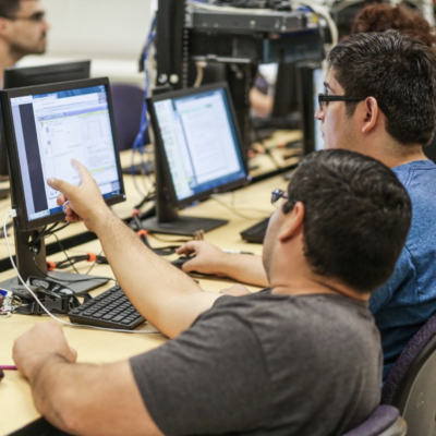 STC cybersecurity students engaging in class. Current and future students can find out more about the program at the annual STC IT Career Expo Feb. 22. (photo STC)