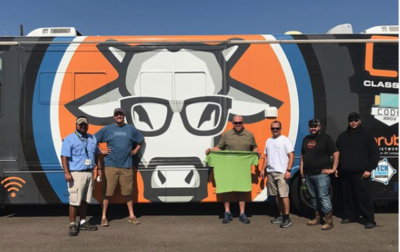 Code#RGV representatives in Rockport after Hurricane Harvey with the Classroom on Wheels to provide WiFi and other services. (photo Code#RGV)