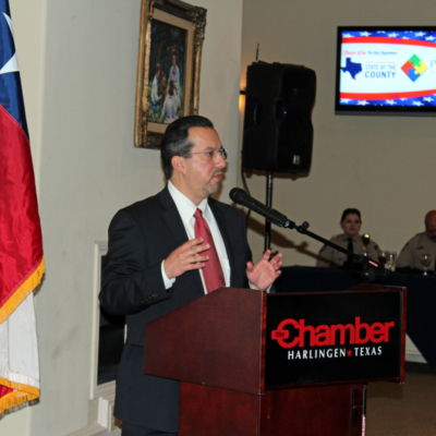 Cameron County Judge Eddie Trevino gave a State of the County presentation at an even sponsored by the Harlingen Chamber of Commerce. (VBR)