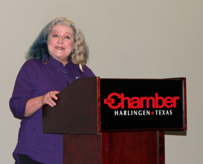 Harlingen Farmers Market manager Kate McSwain updated merchants on growth of the market at its new location. (VBR)