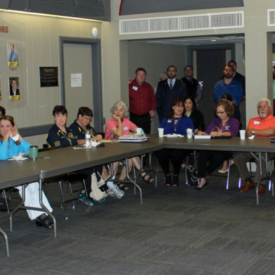 Downtown merchants gathered for coffee and breakfast tacos to hear updates from fellow business owners. (VBR)